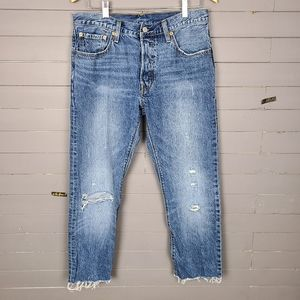 Levi's 501 Raw Hem Distressed Cropped